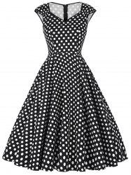 Polka Dot Cap Sleeve Party Dress -