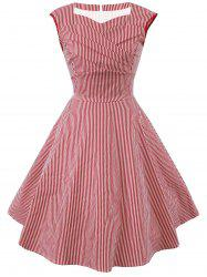 Striped Cap Sleeve Party Dress -