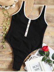 One Piece Ribbed High Leg Swimsuit -