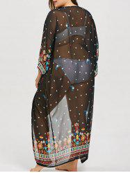 Plus Size Printed Longline Cover Up -
