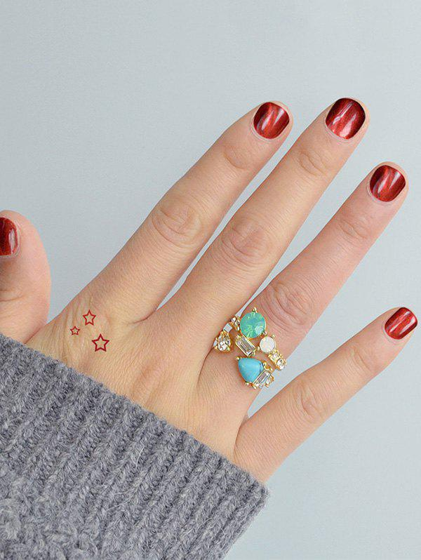 Shop Faux Crystal Decorated Metallic Rings Set