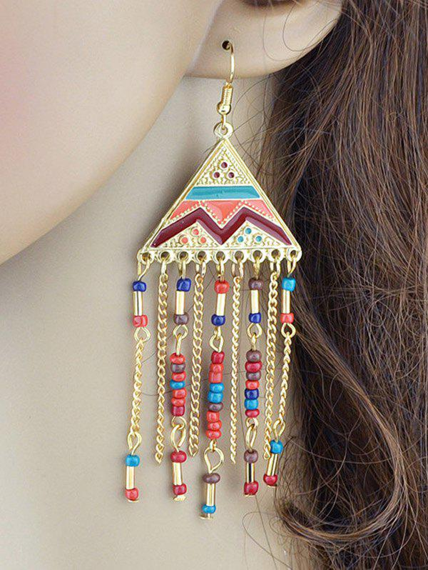Discount Metalline Triangle Fringed Bead Decorated Drop Earrings