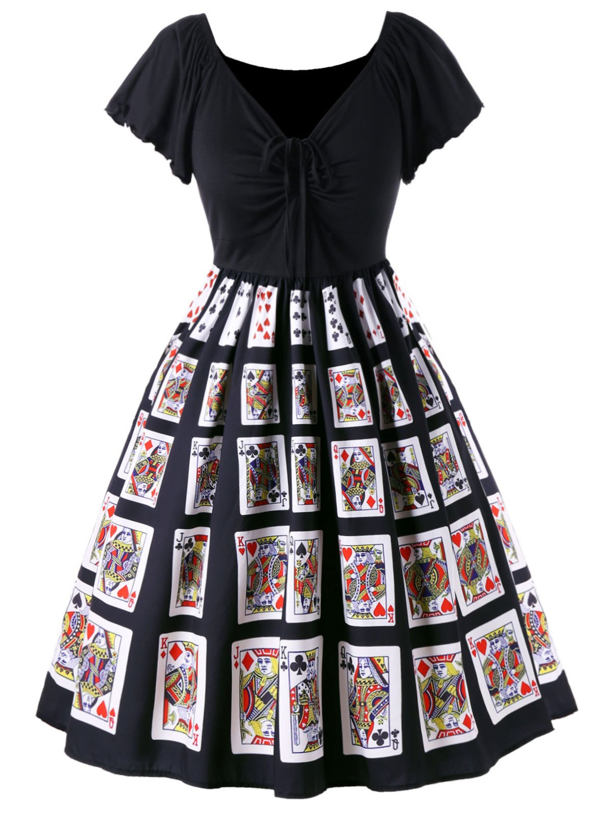 Shop Plus Size Playing Card Print Retro Dress