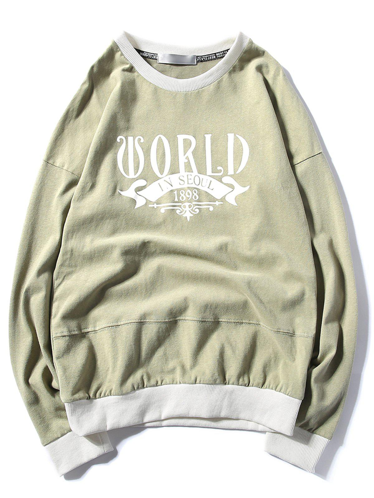 Online Graphic Print Panel Pullover Sweatshirt