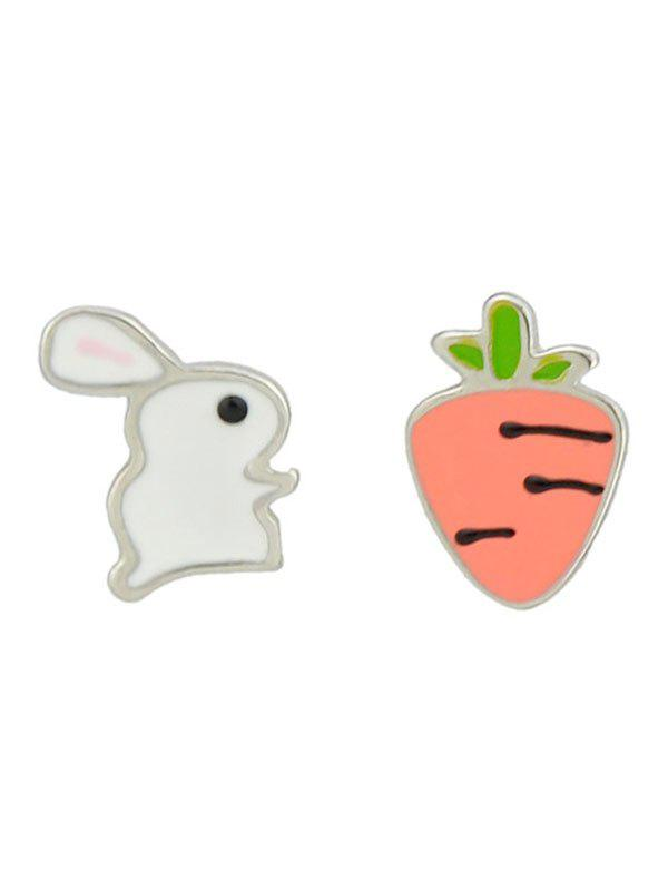 Fancy Enamel Rabbit and Radish Stud Earrings