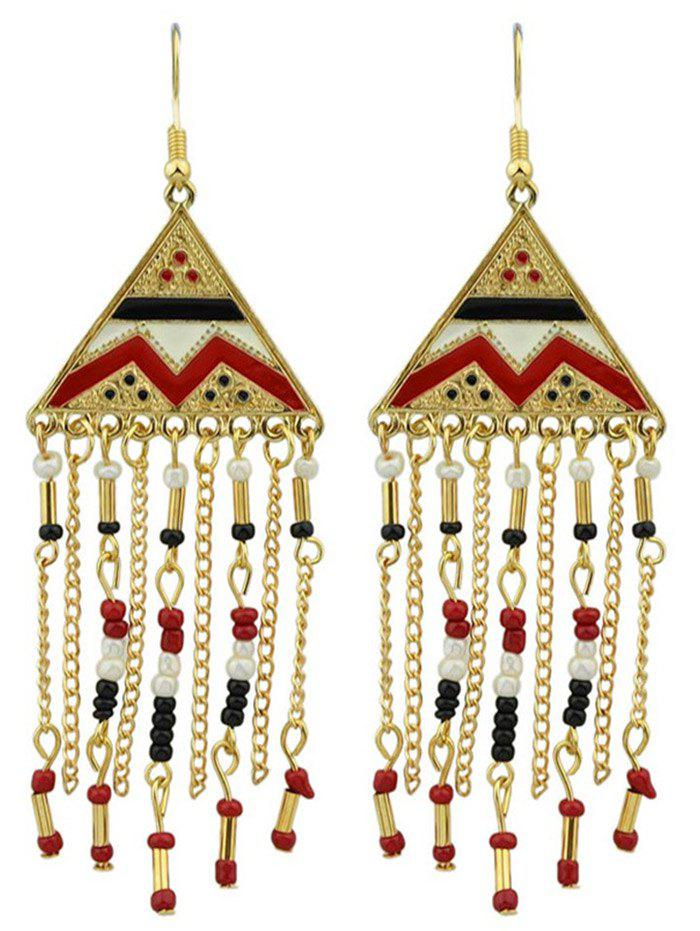 Outfit Metalline Triangle Fringed Bead Decorated Drop Earrings