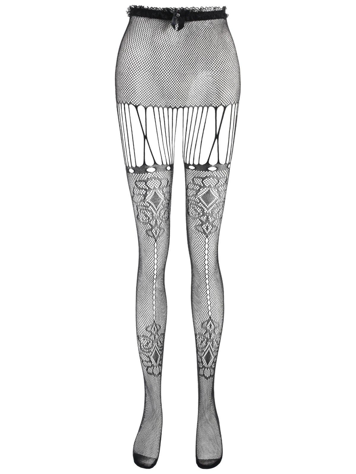 183f4011bb9647 33% OFF] High Waisted Fishnet Tights | Rosegal