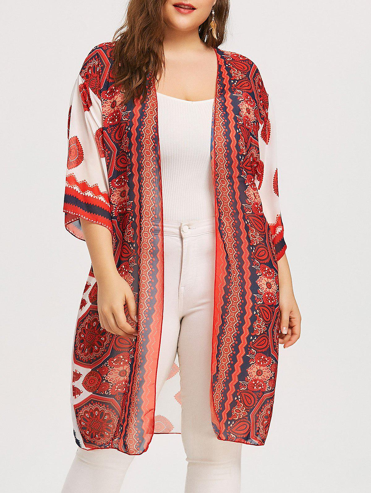 Fashion Plus Size Longline Eye Print Kimono Cover Up