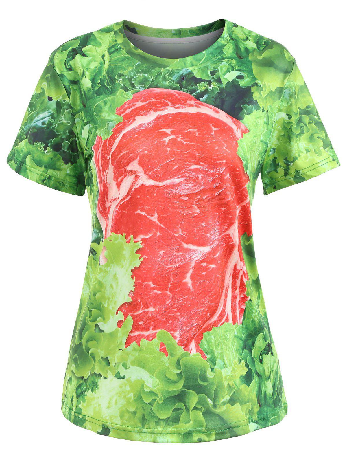Chic Short Sleeve Raw Meat Tee