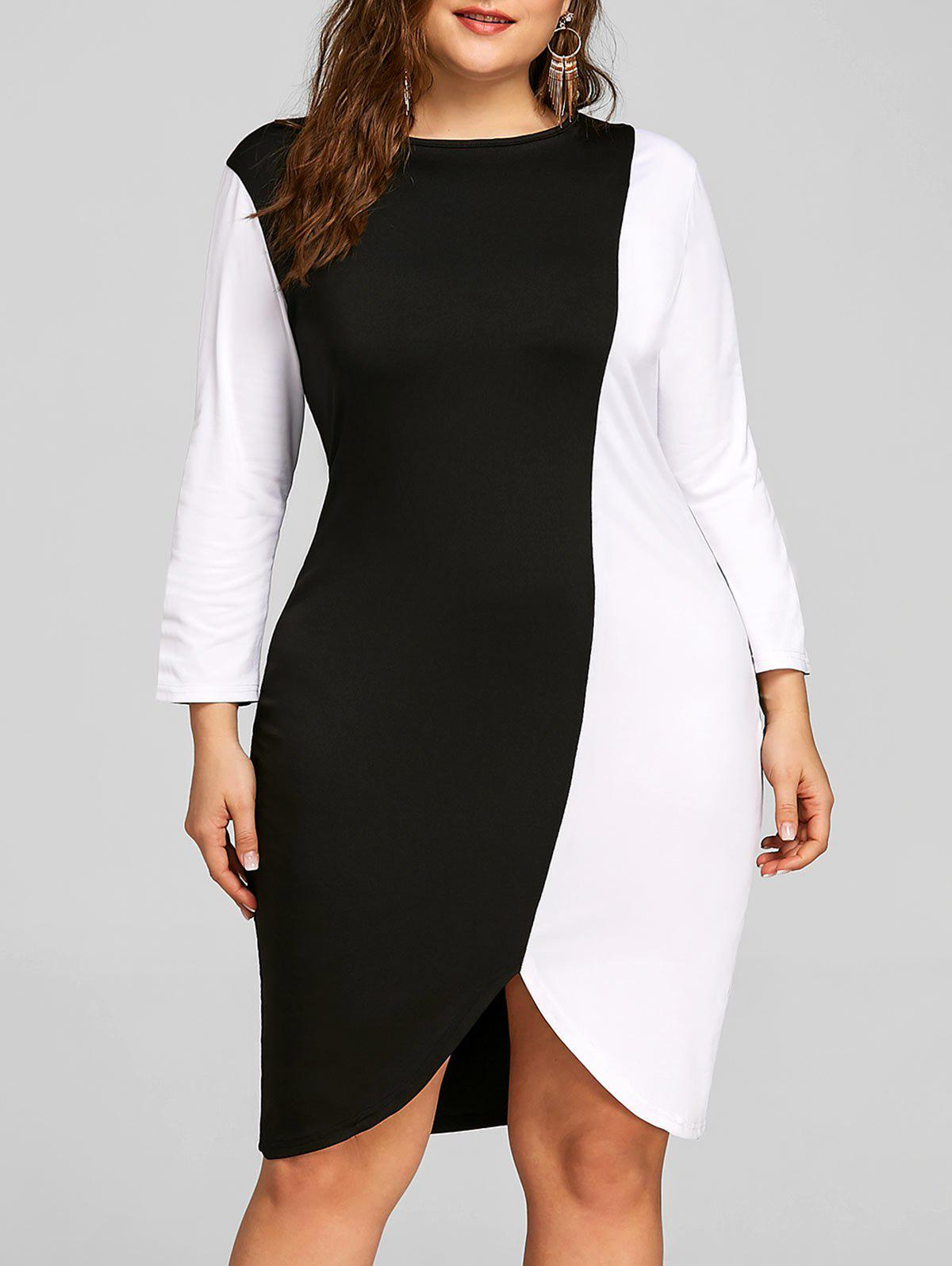 Affordable Color Block Plus Size Sheath Dress