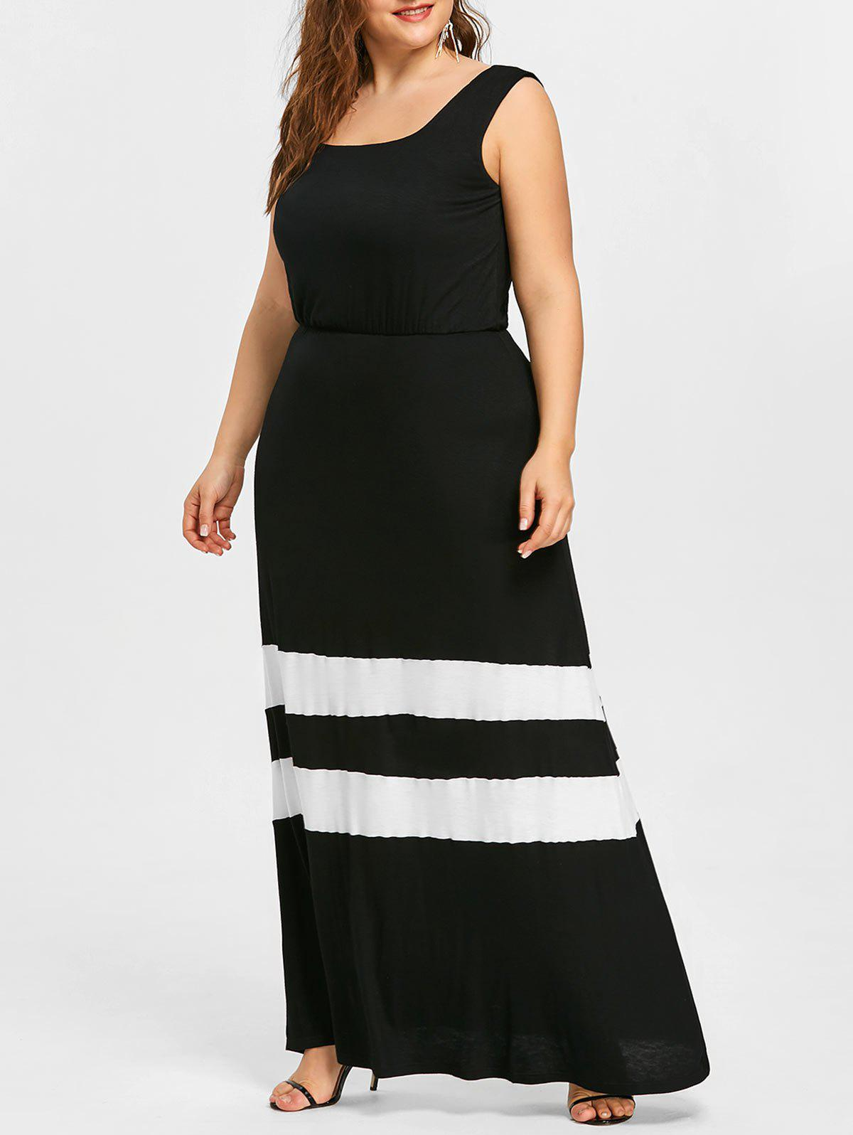 Best Plus Size Striped Trim Long Flare Dress