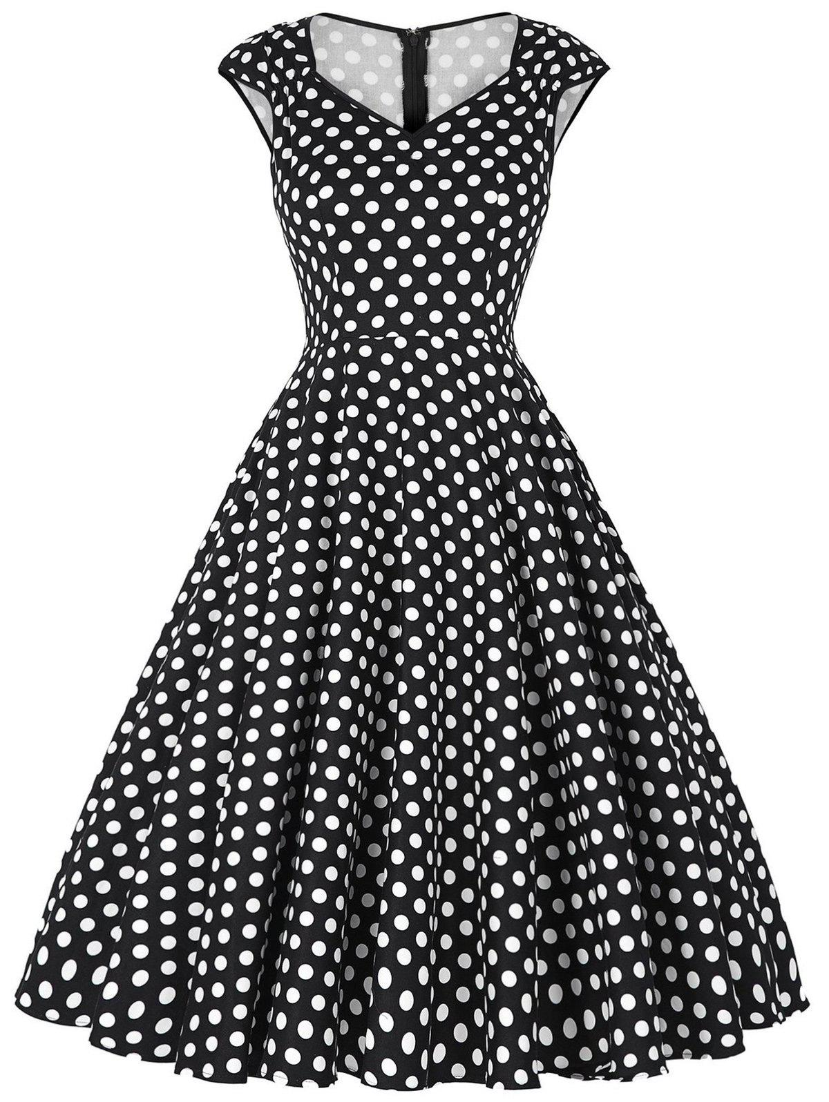 Fancy Polka Dot Cap Sleeve Party Dress