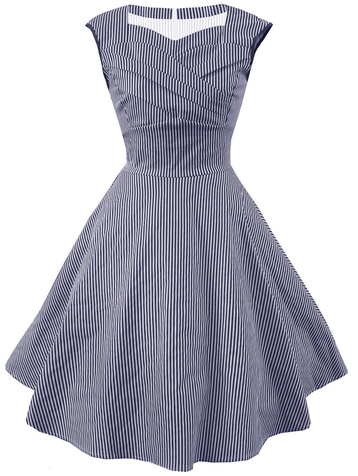 Chic Striped Cap Sleeve Party Dress