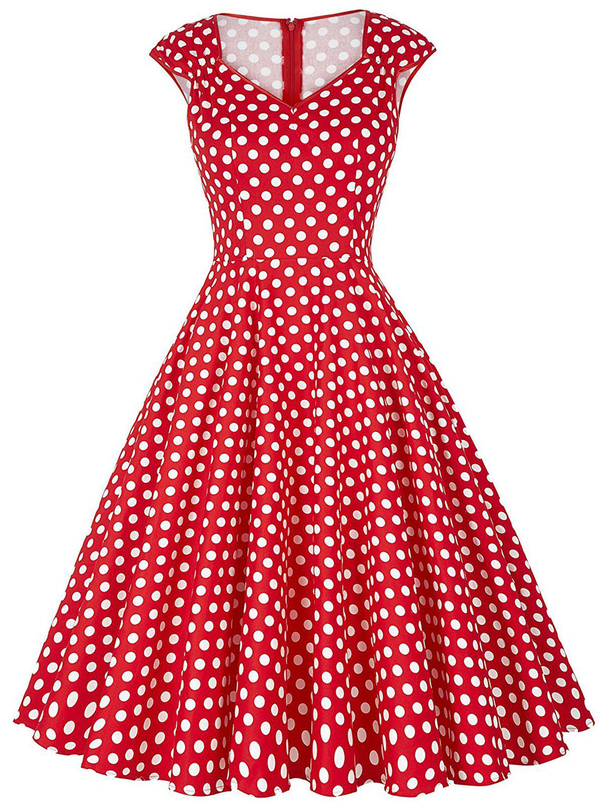 Discount Polka Dot Cap Sleeve Party Dress