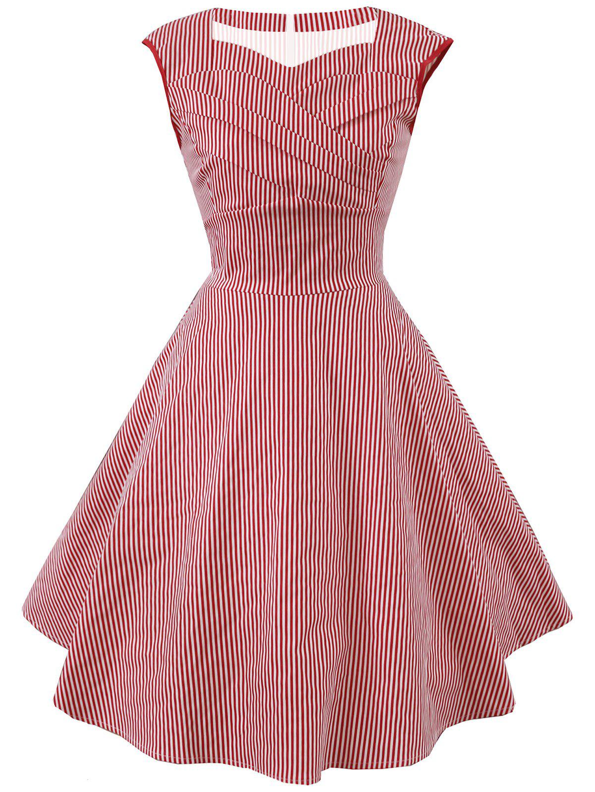 Discount Striped Cap Sleeve Party Dress
