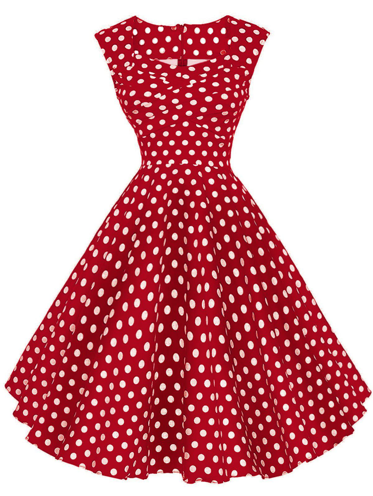 Shops Polka Dot Sleeveless Party Dress