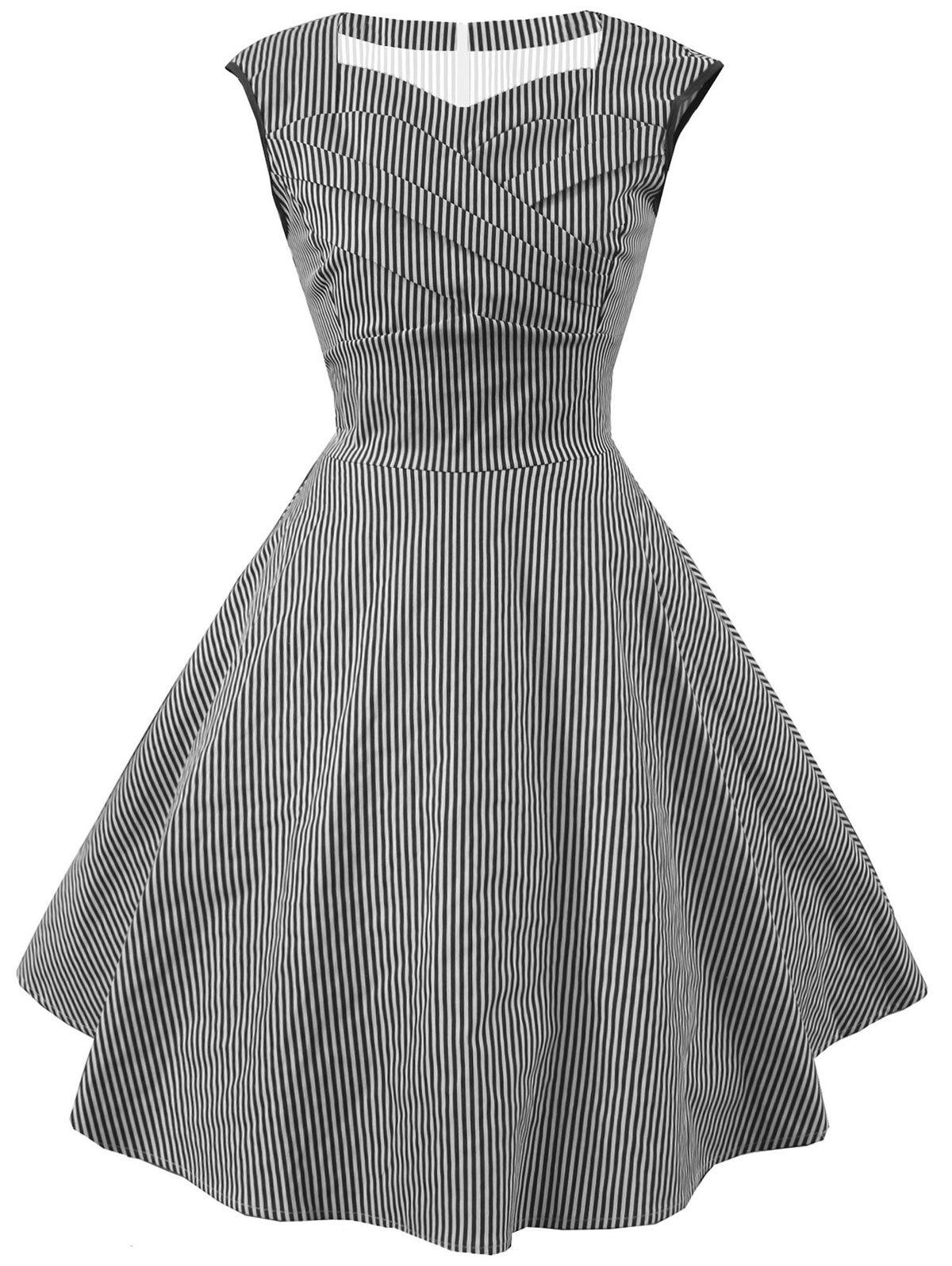 Trendy Striped Cap Sleeve Party Dress
