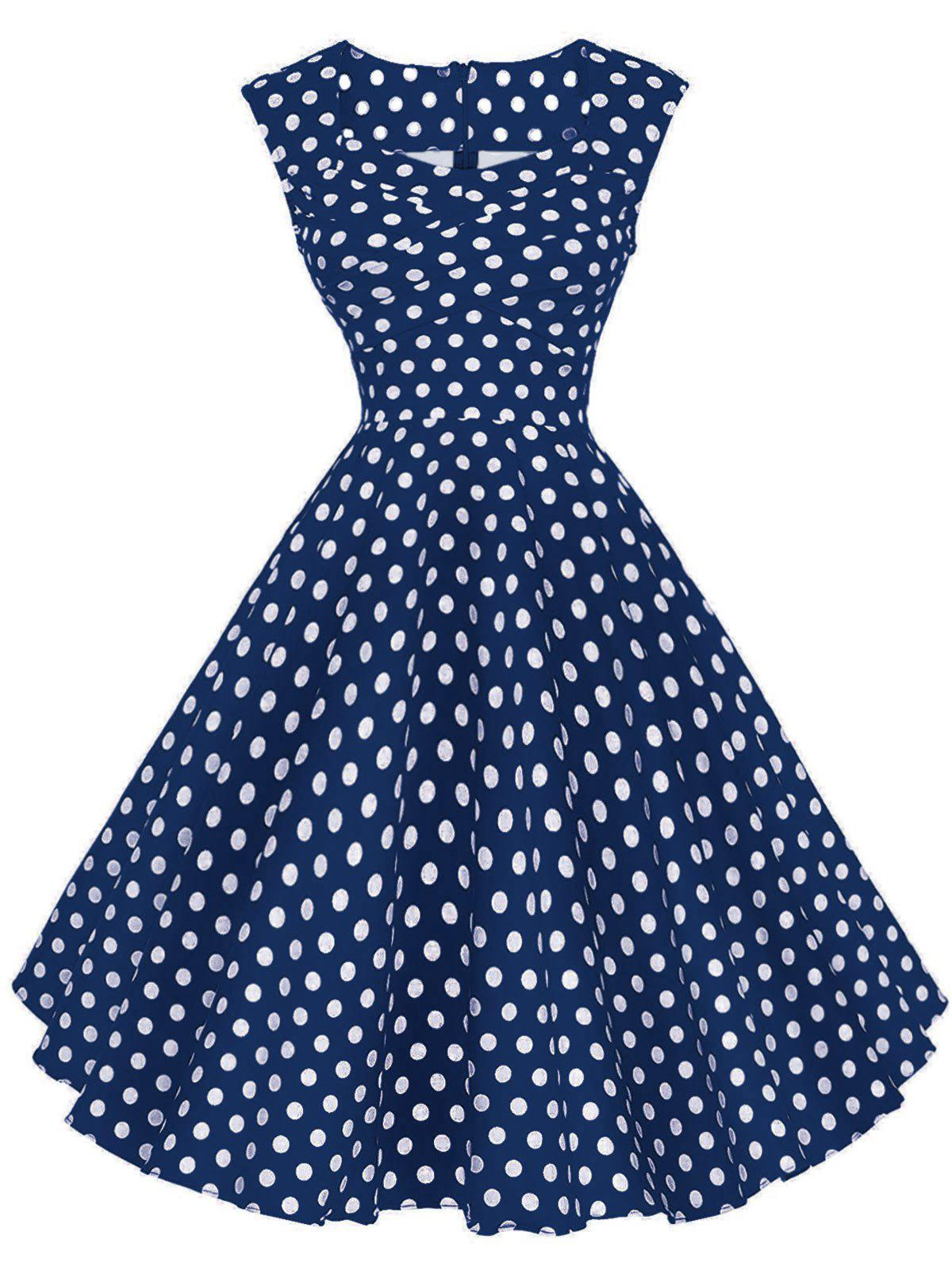Hot Polka Dot Sleeveless Party Dress