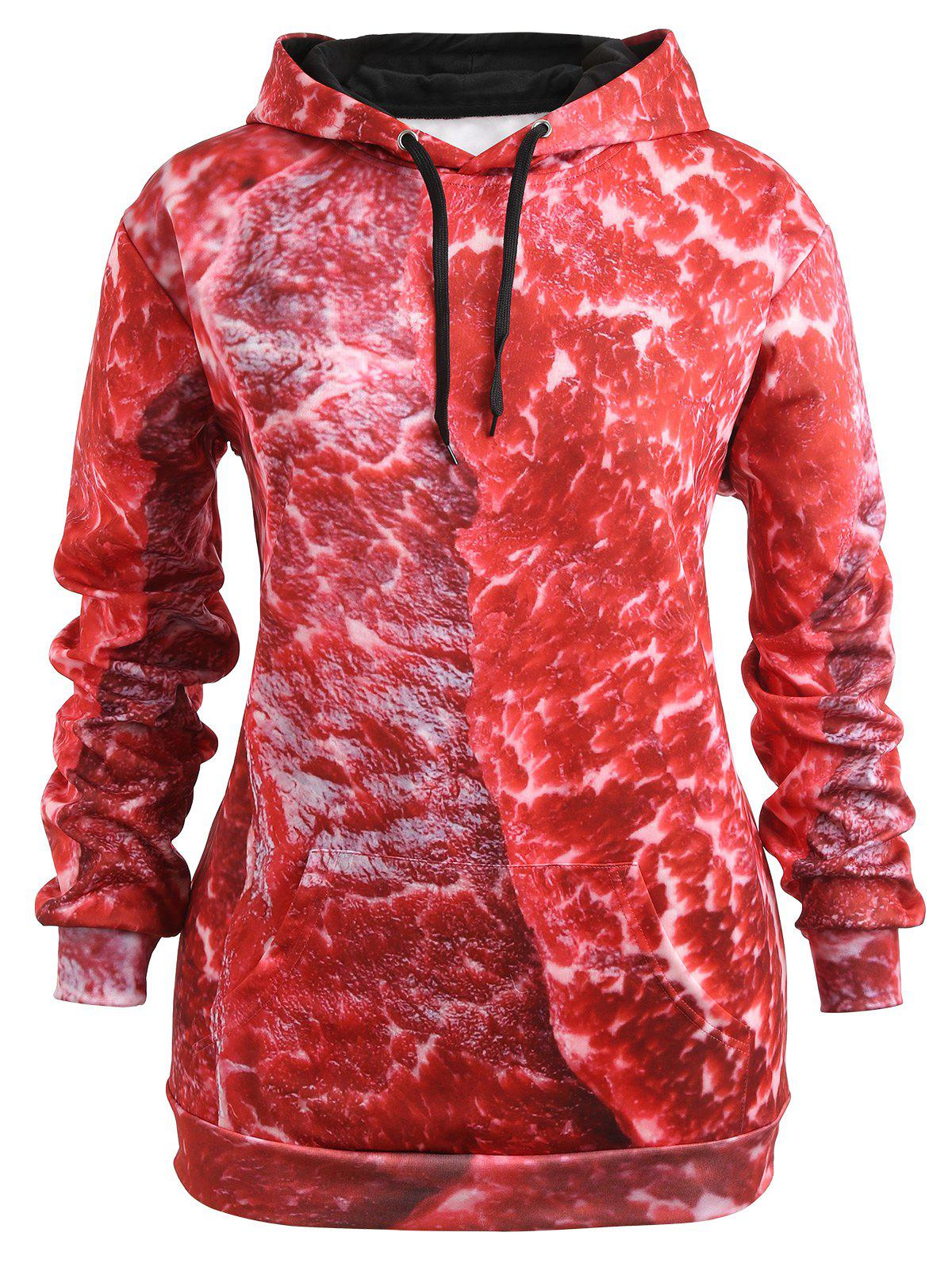 Fancy Plus Size 3D Print Drawstring Pork Meat Hoodie