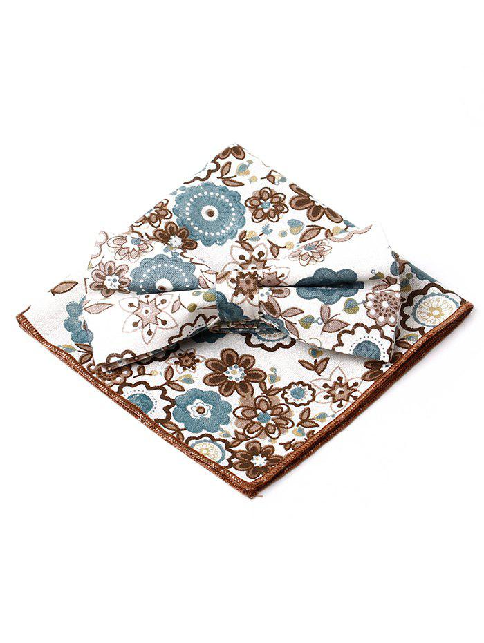 Discount Floral Pattern Printed Bowtie Square Handkerchief Set