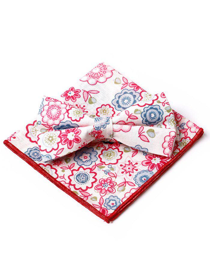 Chic Floral Pattern Printed Bowtie Square Handkerchief Set