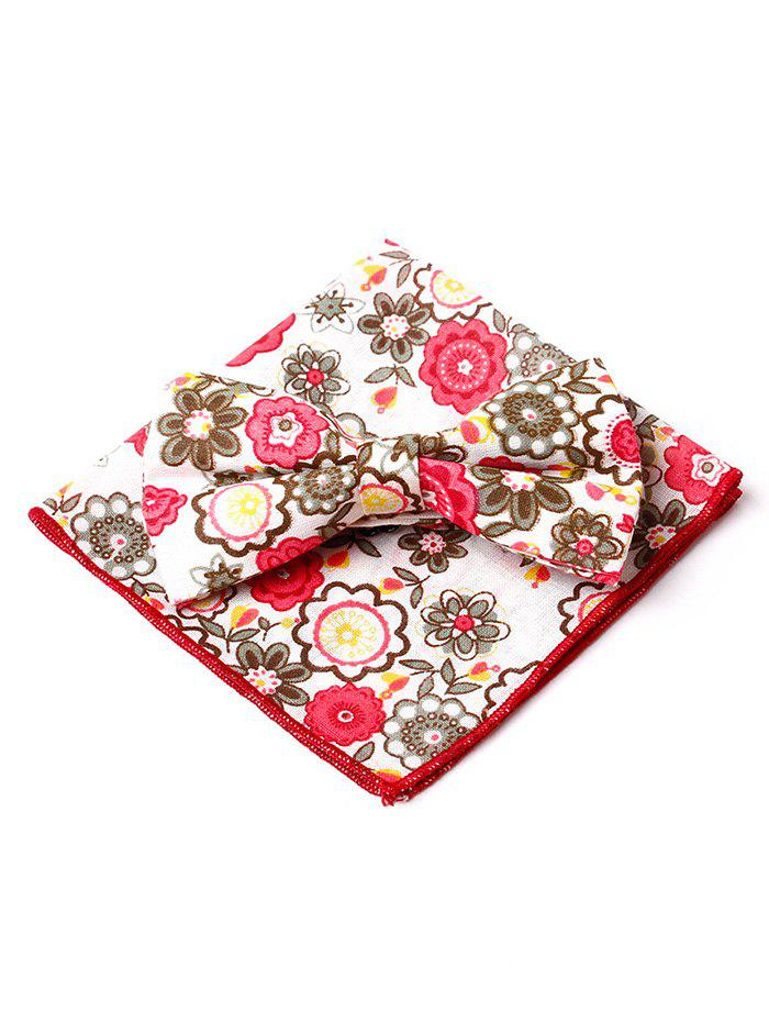 Shop Floral Pattern Printed Bowtie Square Handkerchief Set