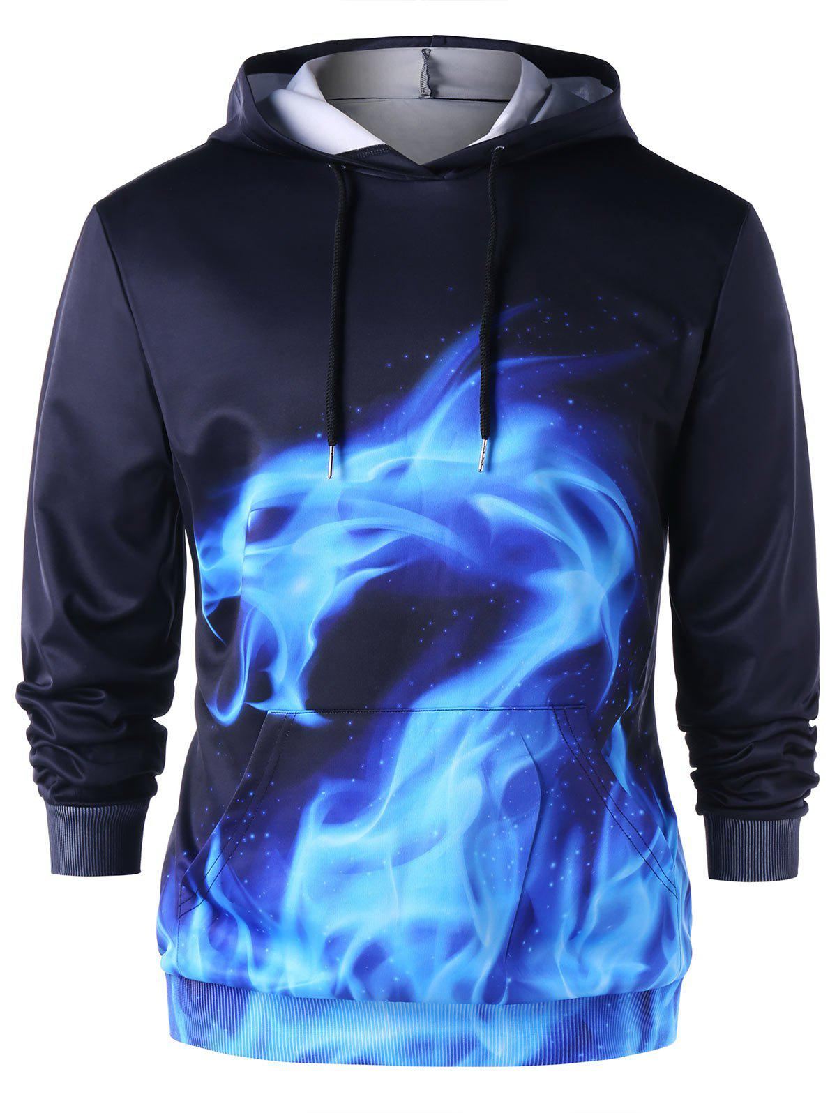 Affordable Flaming Dragon Drawstring Neck Hoodie