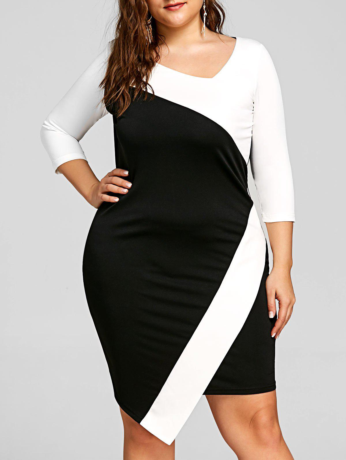 24893d80237 Latest Plus Size Asymmetric Color Block Bodycon Dress