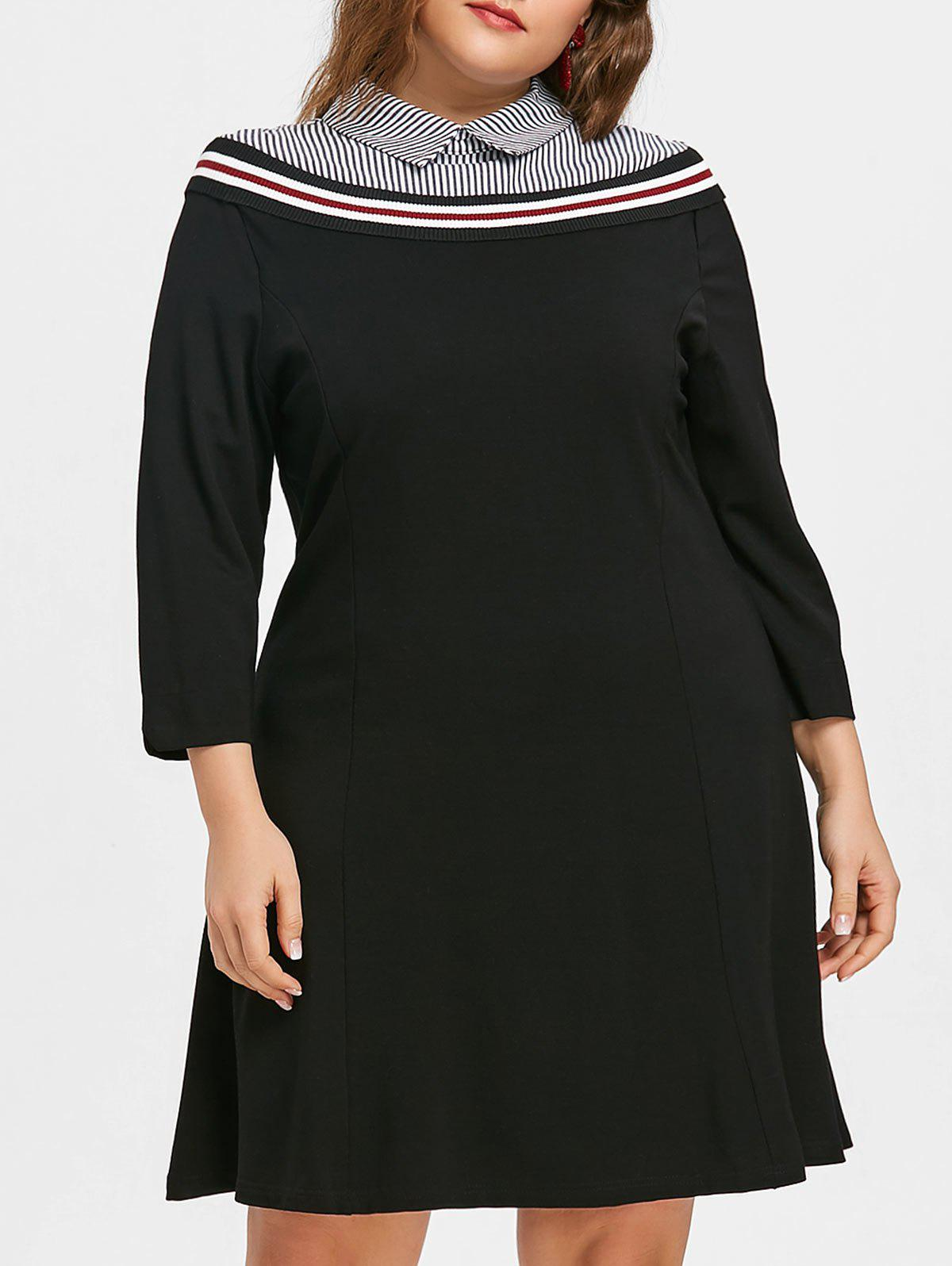 Store Plus Size Striped Panel Preppy Style Dress