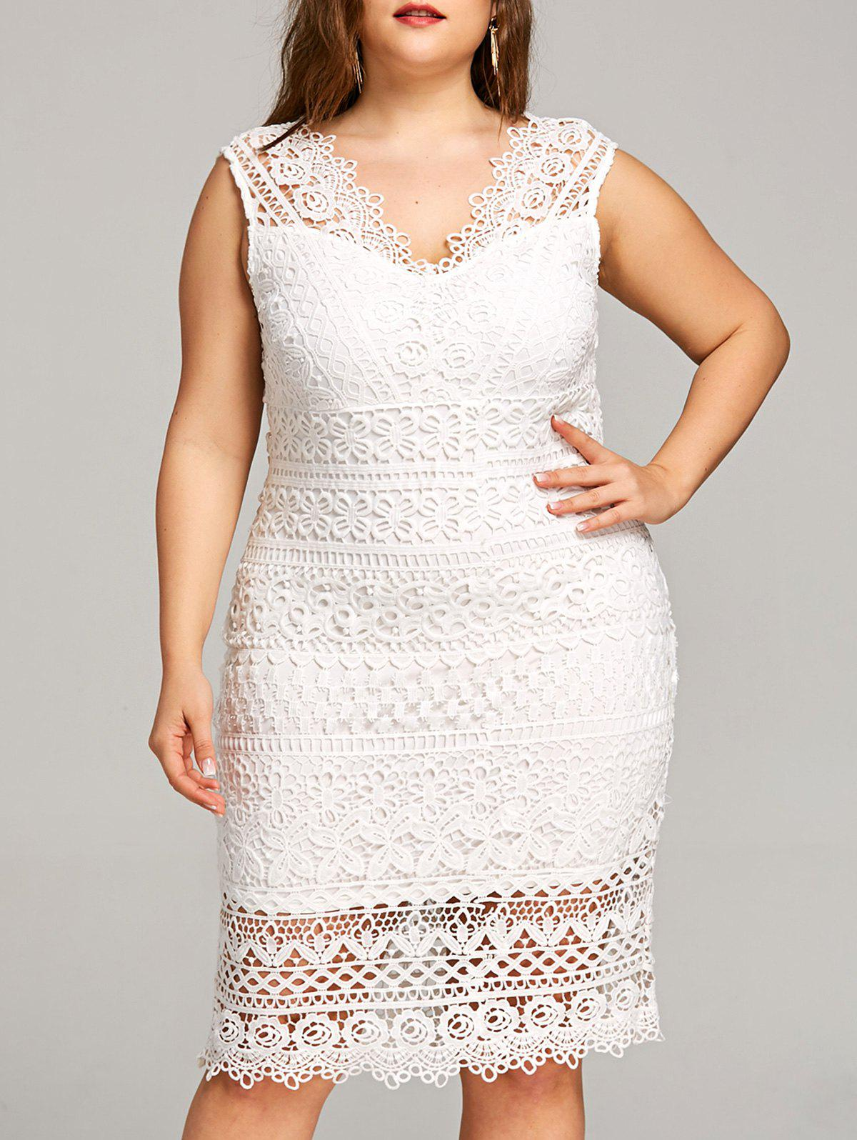Outfit Plus Size V Neck Openwork Lace Dress