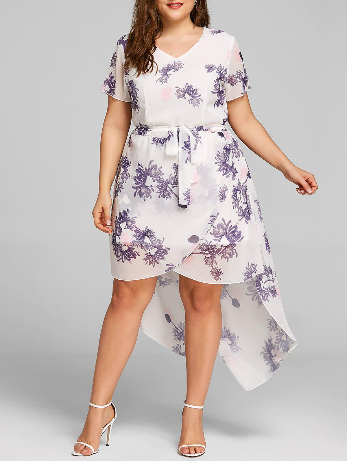 New Plus Size High Low Floral Print Dress