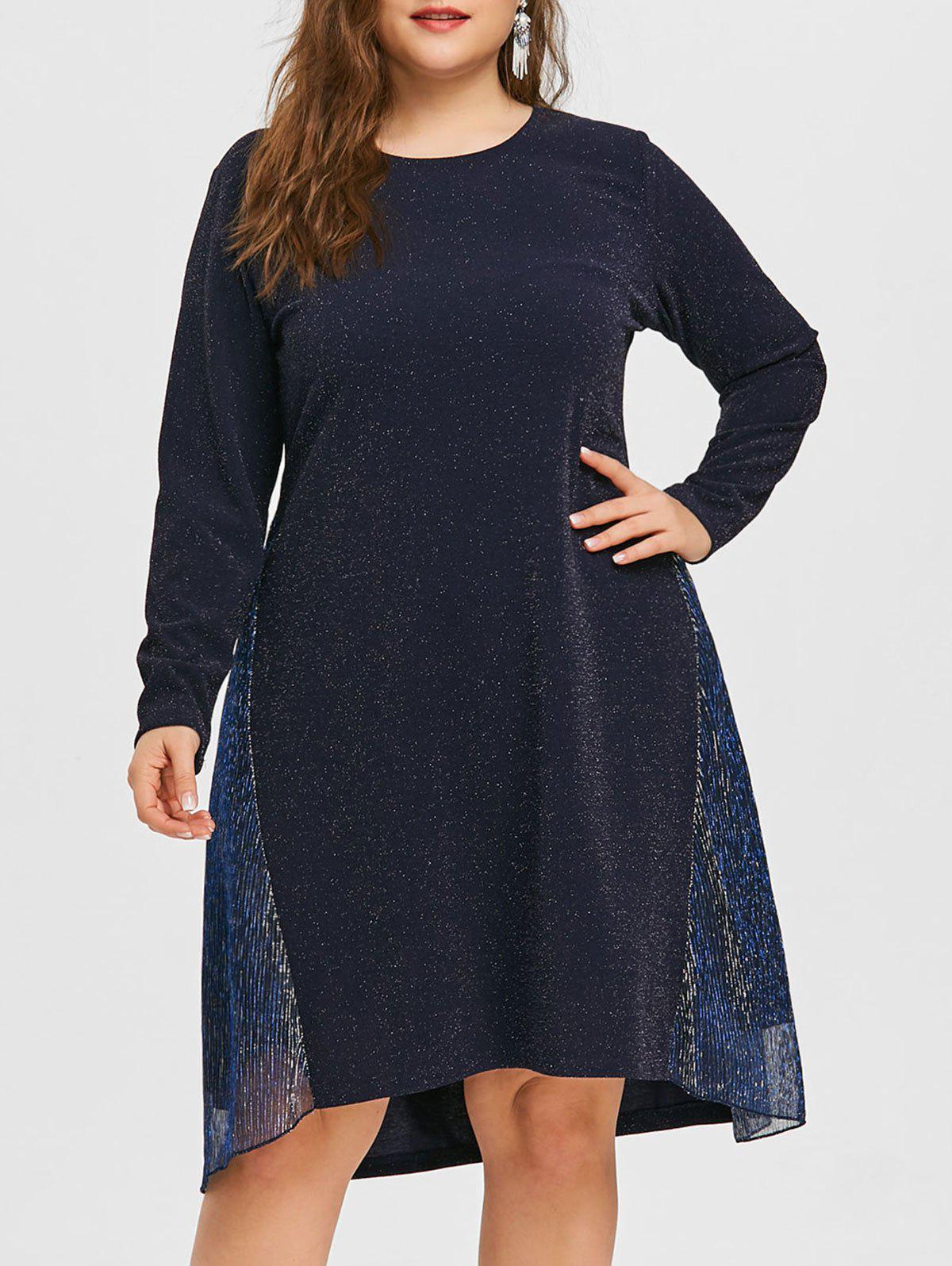 Trendy Plus Size Glitter Pleated Dress