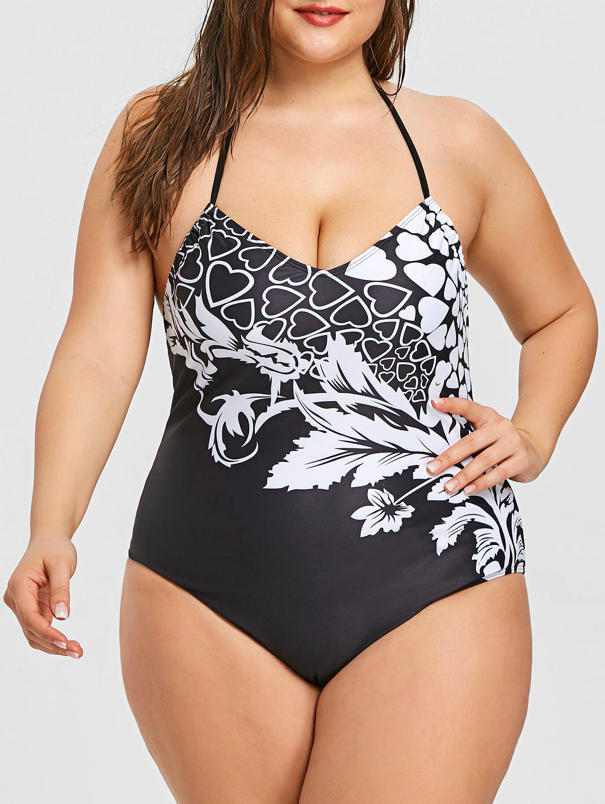 Buy Plus Size Halter Print One Piece Swimwear