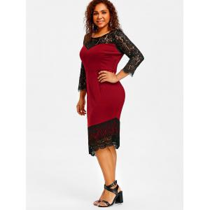 Plus Size Lace Trim Asymmetric Dress -