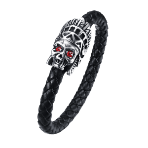Sparkling Stainless Steel Apparition Head Leather Bracelet -