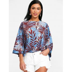 Bird Print Slit Blouse -