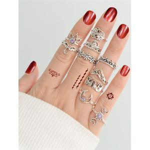 Rhinestone Moon Heart Elephant Blossom Ring Set -