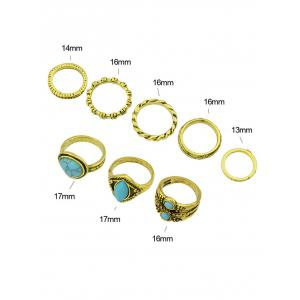 Simple Faux Turquoise Circle Finger Ring Set -
