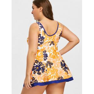 Empire Waist Plus Size Skirted Floral Tankini -
