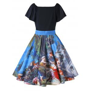 Plus Size Butterfly Sleeve Painting Vintage Dress -
