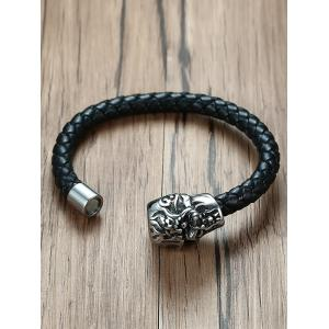 Apparition Head Stainless Steel Leather Bracelet -