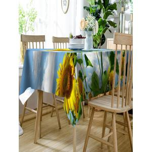 3D Sunflowers Print Waterproof Polyester Table Cloth -