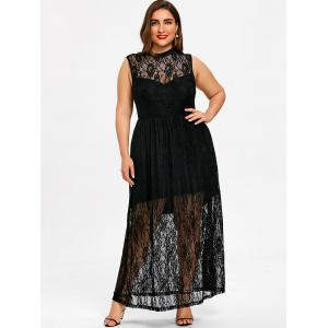 Plus Size Sleeveless Floral Flowing Maxi Dress -