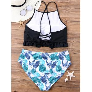 Plus Size Lace Up Ruffle Bikini Set -