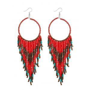 Fringed Geometric Long Drop Earrings -