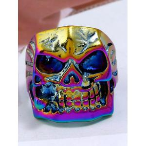 Plated Square Face Skull Metal Retro Biker Ring -