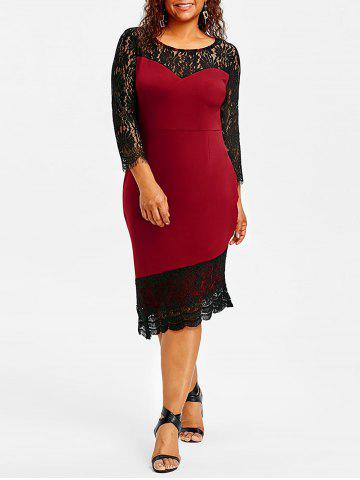 Buy Plus Size Lace Trim Asymmetric Dress
