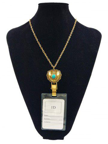 Discount Alloy Vintage Heart Shape Pendant ID Card Necklace
