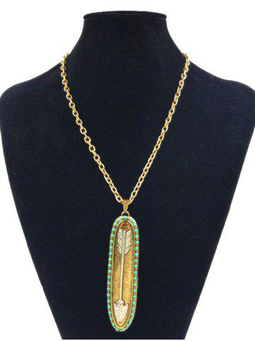Store Retro Alloy Oval Arrow Beaded Inlay Pendant Necklace