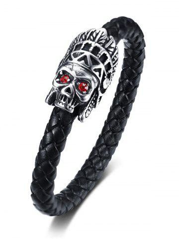 Best Sparkling Stainless Steel Apparition Head Leather Bracelet